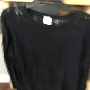 CAbi black sweater with lace back S